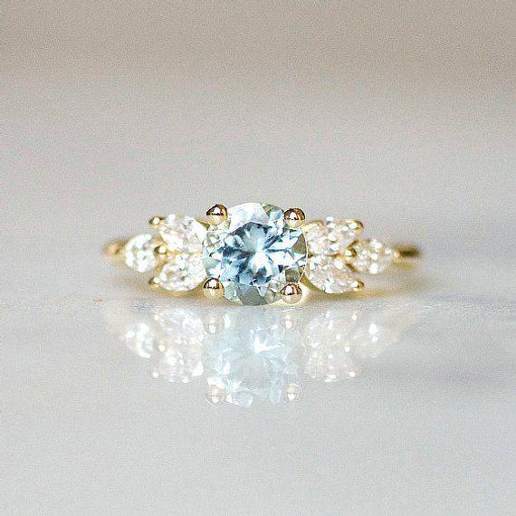 Photo of Aquamarine engagement ring Leaf engagement ring | Nature Inspired Wedding Ring Diamond…