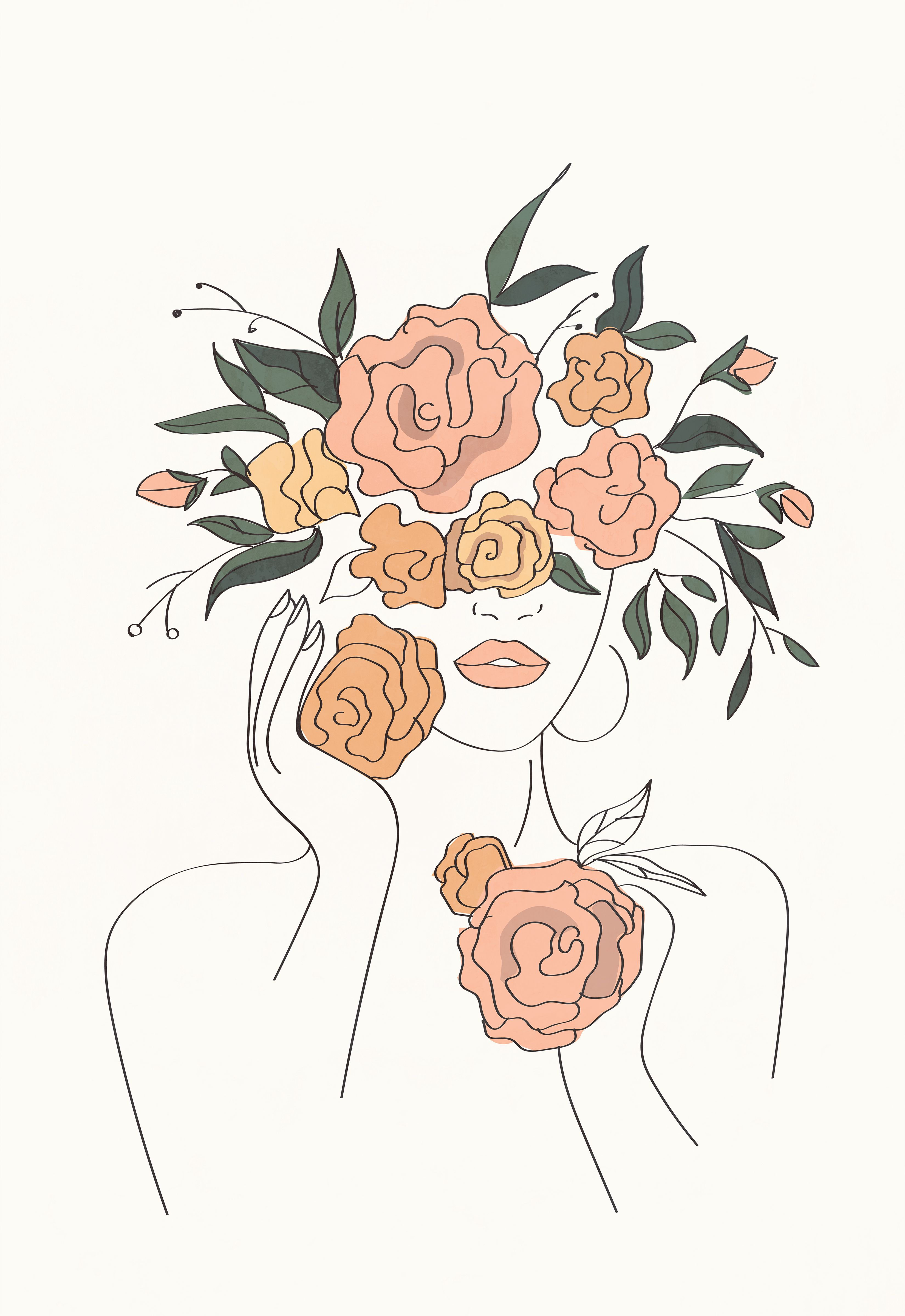 Modern minimal female line art