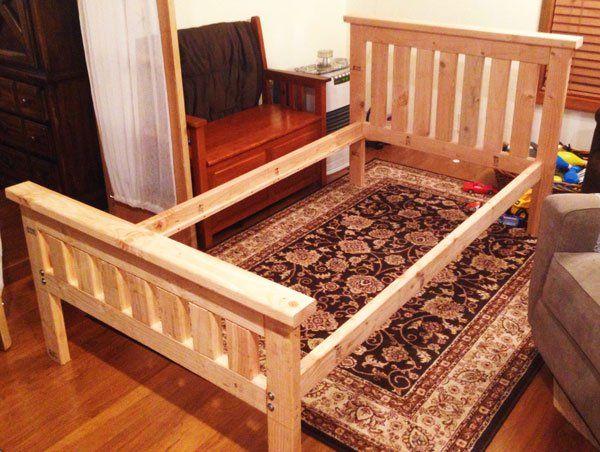 Diy 2x4 Bed Frame Easy Wood Projects Bed Frame Diy Bed Frame Bed