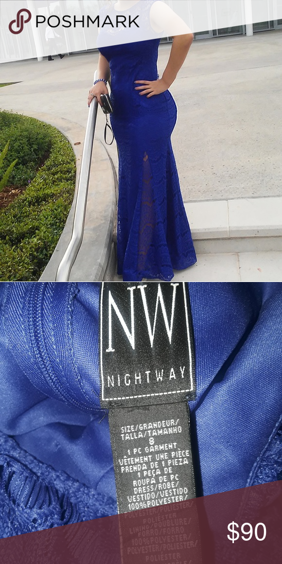 135c83ef98c NightWay Prom Dress Royal blue, lace, stretchy says size 8 I wear a 7 in  pants (Price negotiable) Night Way Collections Dresses Prom