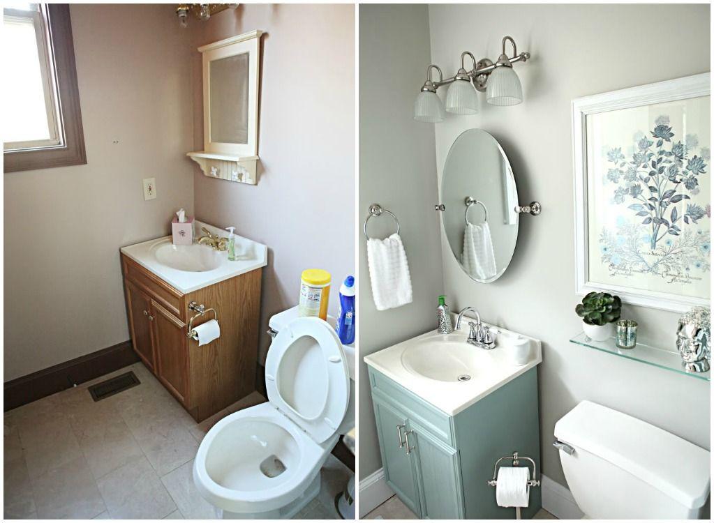 banheiro pintado antes e depois  Pesquisa Google  Ideias pra casa  Pintere -> Banheiro Pequeno Pintado
