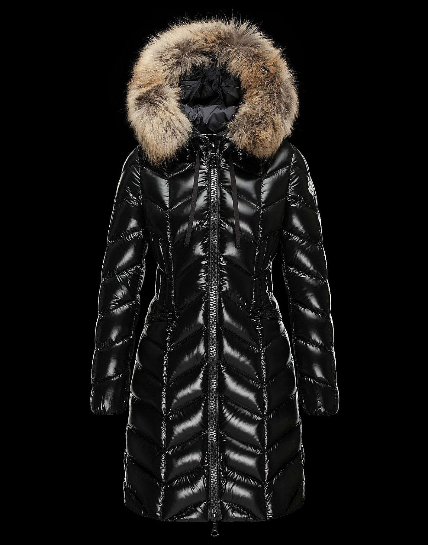 Cheap Moncler BELLOY Women Coats Long Black With Fur