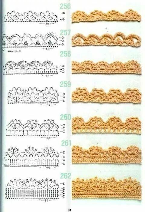 patrones de puntillas tejidas a ganchillo o crochet de dos colores ...