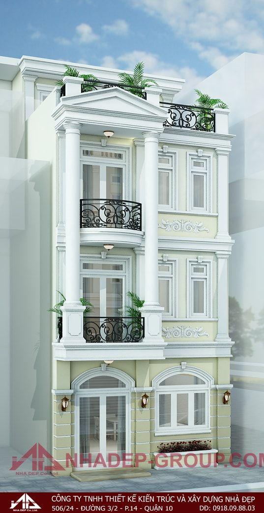Front Elevation Balcony Designs: Mẫu Nhà Phố đẹp 6m Cổ điển