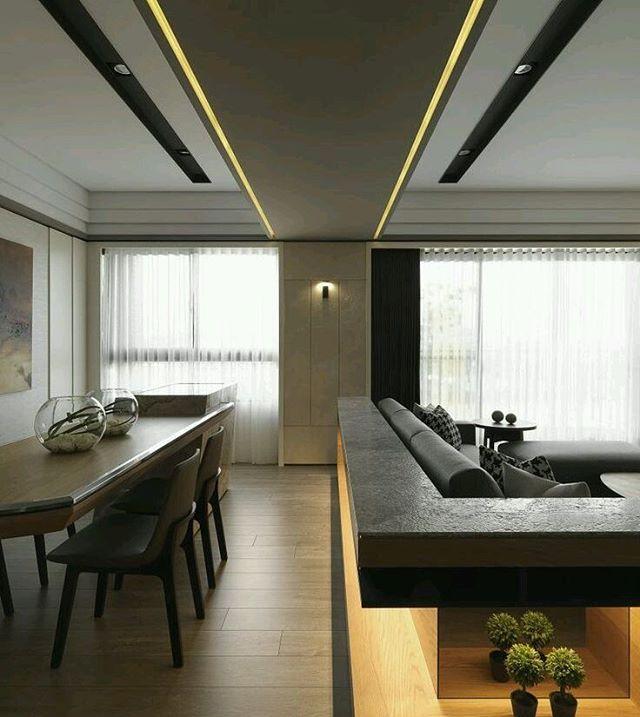 Diseño interior con marcado trabajo de #iluminacion y techos - Techos Interiores Con Luces