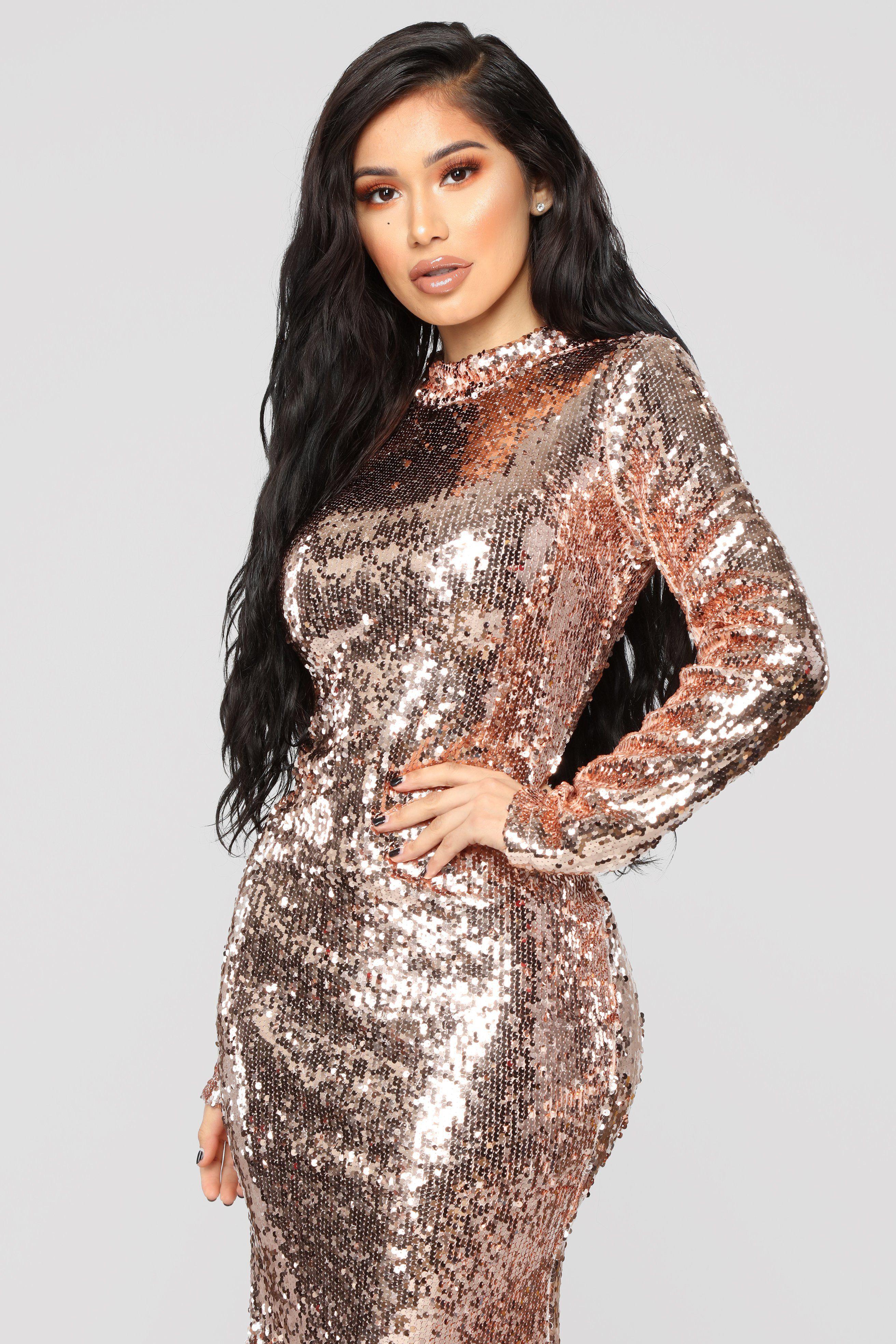 Practically Famous Sequin Dress Rose Gold Sparkle Dress Dresses Shiny Dresses