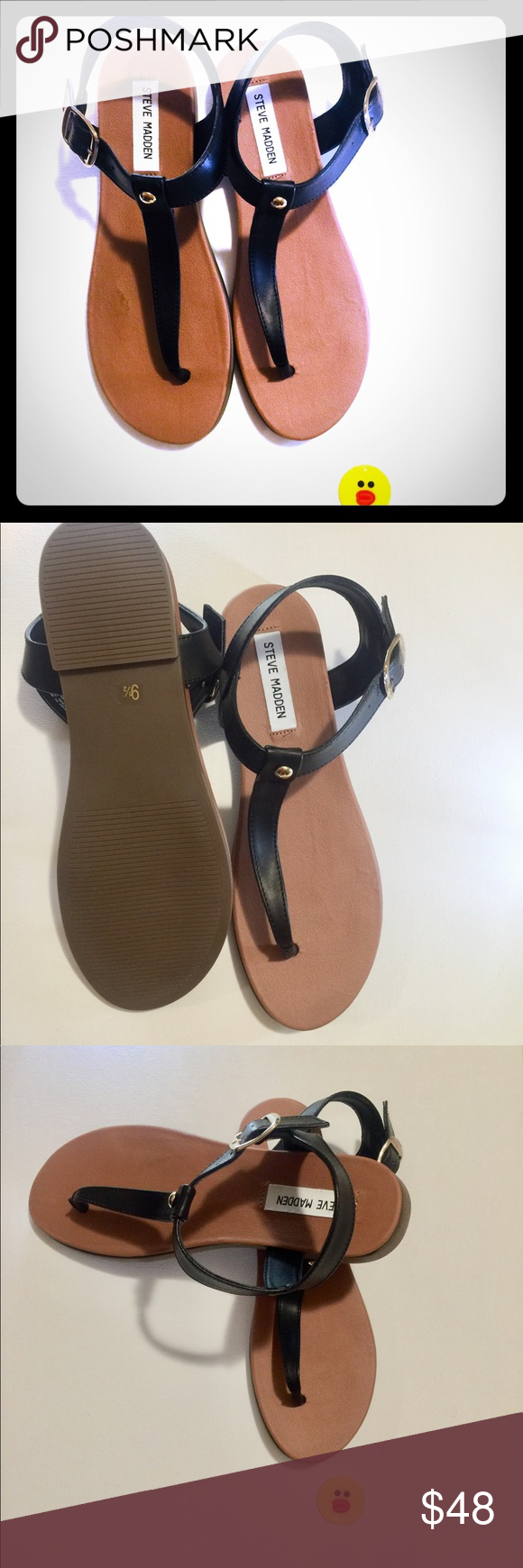 9fe1def8e8a Steve Madden Chaya Leather Black Sandals Brand new in box. These are ...