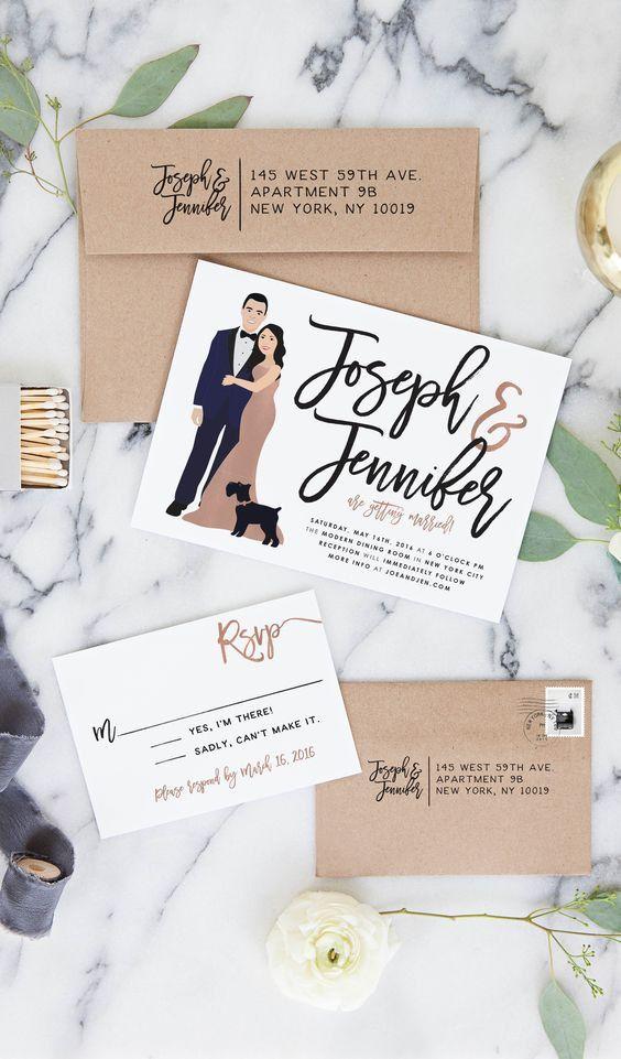 Rose Gold Wedding Invitations, Wedding Portrait Invite Suite Rose ...