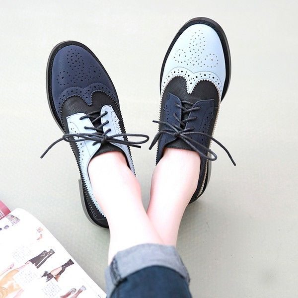 Blue and Navy Women's Oxfords Lace up Vintage Brogues School Shoes | School  shoes, Brogues and Oxfords