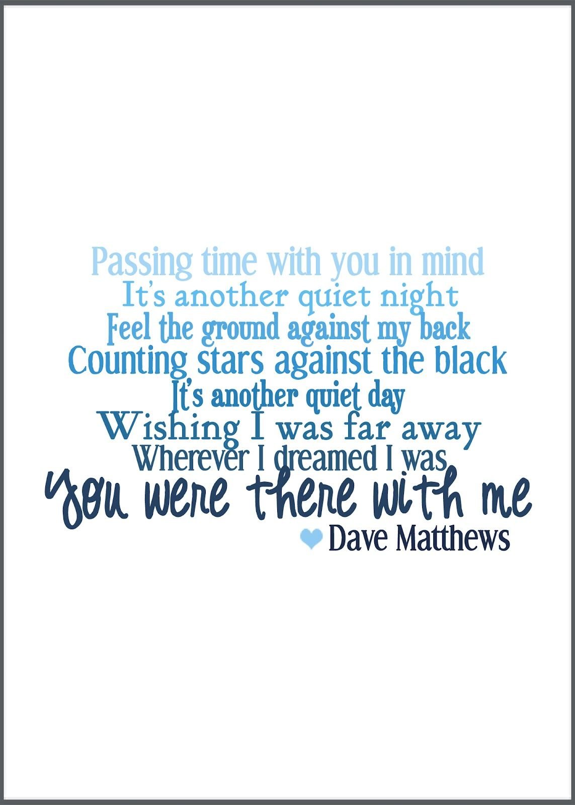 Dmb Printable Subway Art With Images Dave Matthews Words Songs