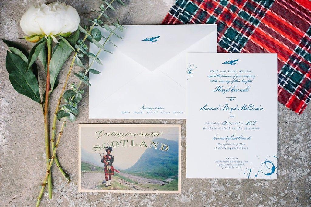 SAM + HAZEL\'S Scotland wedding invitations for their traditional ...