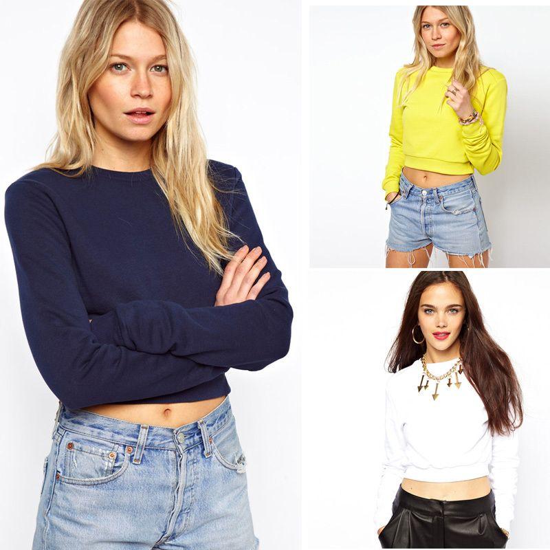 패션 스트리트 캐주얼 캔디 컬러 오-목 짧은 디자인 긴 소매 베어 횡격막 스웨터 최고 무료 배송
