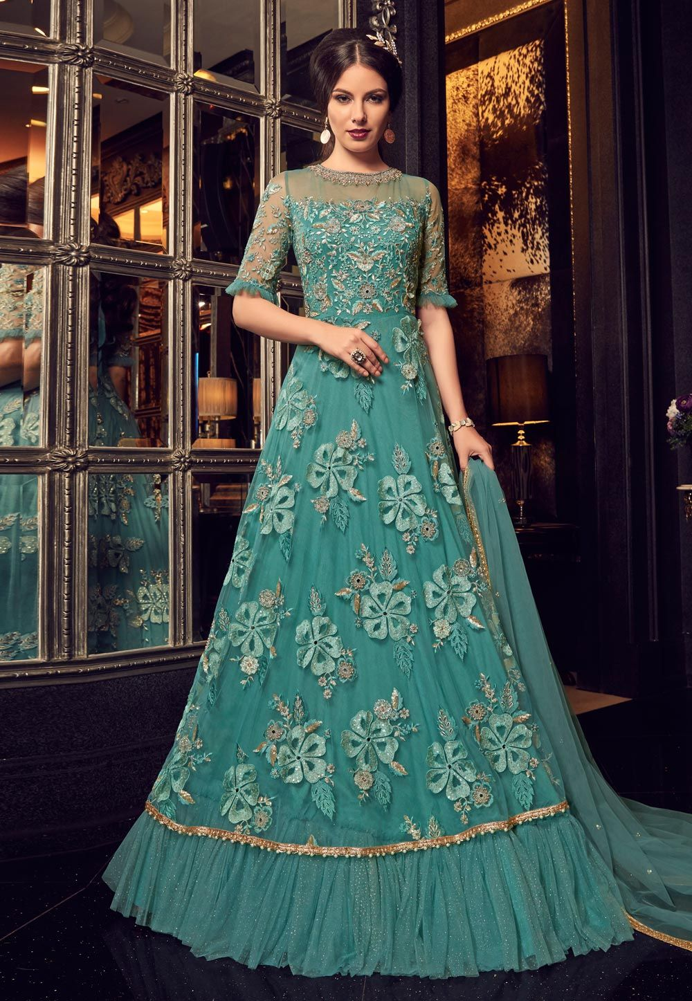 ac1f046541 Buy Sea Green Net Floor Length Anarkali Suit With Frills 153792 online at  lowest price from huge collection of salwar kameez at Indianclothstore.com.