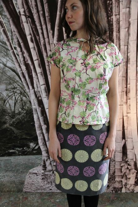 Amy Butler's Alchemy Studio Fabrics with The Sencha top from Colette Patterns and the Deco Vibe Skinny Skirt from hotpatterns.com