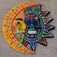 Day Of The Dead Wall Art unique sun and moon ceramic wall art, 'eclipse of love' | spanish