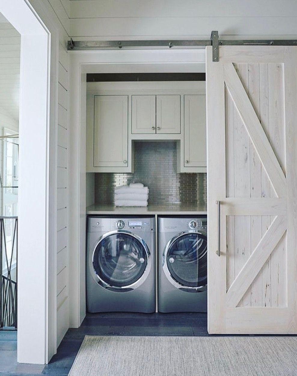 Sliding Barn Door Laundry In Bathroom Hidden Laundry Laundry Room Storage