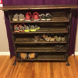 App Drawer Organizer Handmade Reclaimed Wood Shoe Stand With Top Shelf  Rack  Organizer