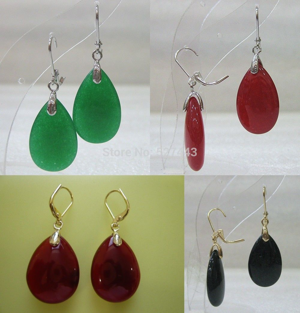 Wholesale free shipping >>>4 color-beautiful green/red/black jade ...