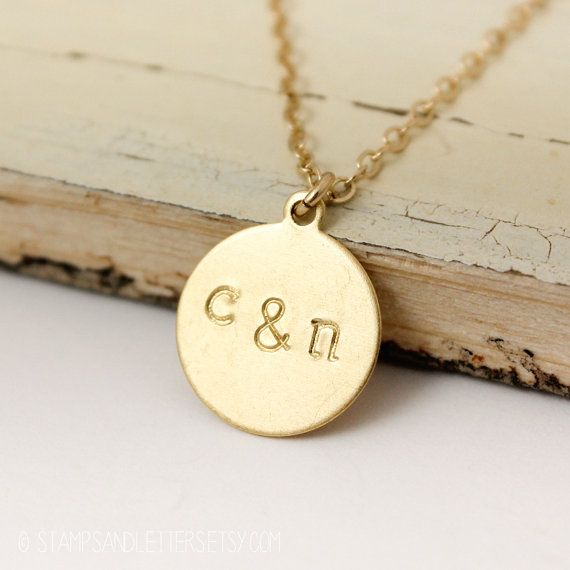 my fav ;)  16in, upper or lower you choose, a&d/A&D  Gold Couples Initial Necklace  His & Hers by stampsandletters