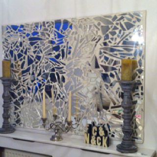 Don T Despair If You Break A Mirror I Made This Mosaic From A Broken One I Used Tile Adhesive To Adhere The Glas Broken Mirror Ideas Broken Mirror Art Mosaic