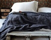 Limited edition: Charcoal Heavy Weight Linen Bed Cover. Coverlet. Linen Summer Blanket.