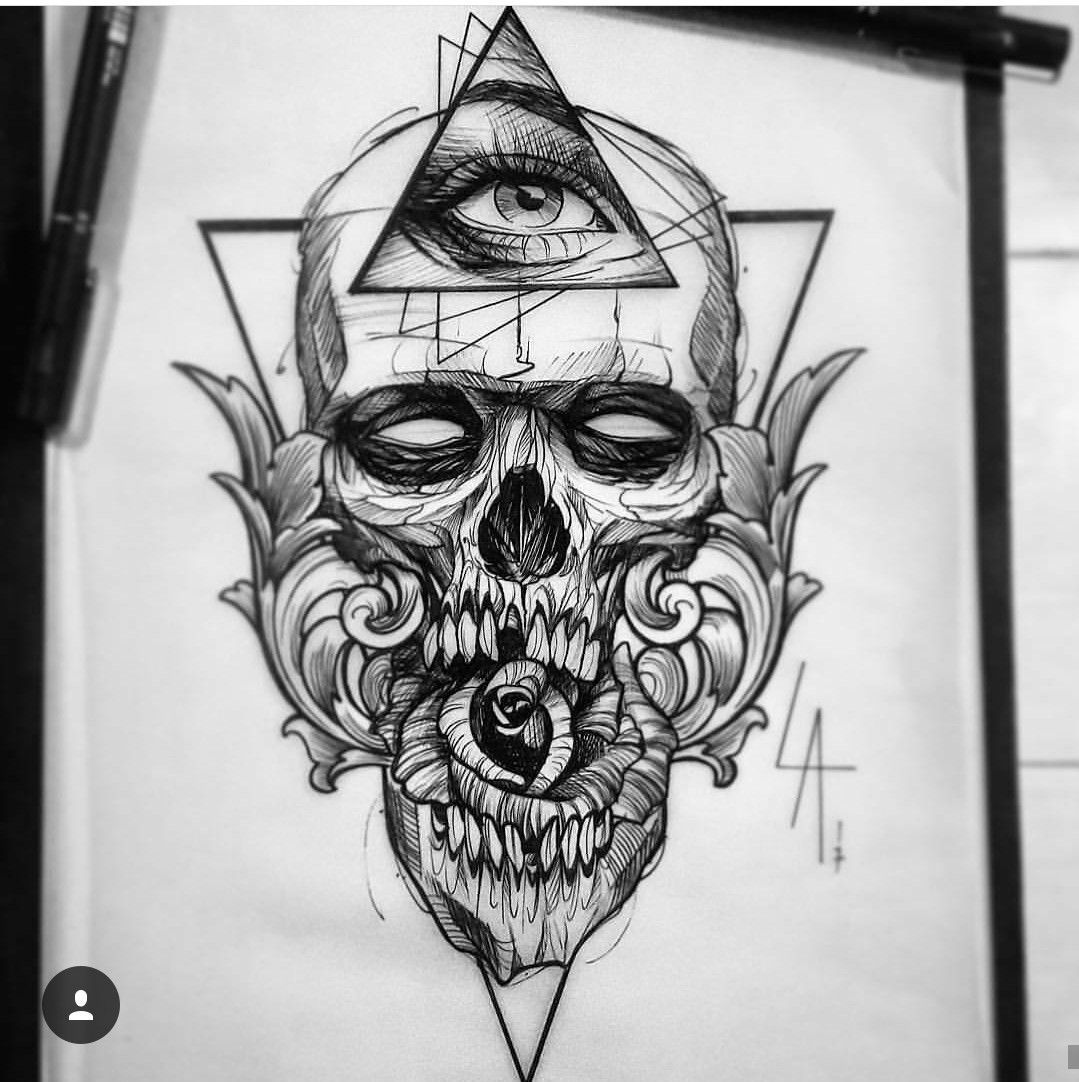geometric skull tattoo art Sketch tattoo design, Skull