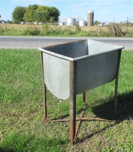 Wheeling Galvanized Single Wash Tub Beer Cooler Flower Pot Plant Stand Bucket Ac Plant Stand Wash Tubs Galvanized Wash Tub