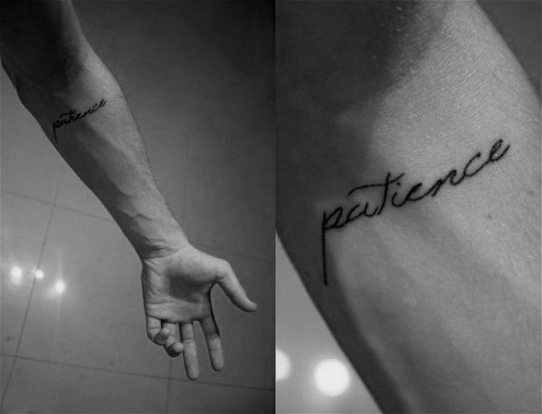 30 Patience Tattoo Designs For Men Word Ink Ideas Patience Tattoo Tattoo Designs Men First Time Tattoos
