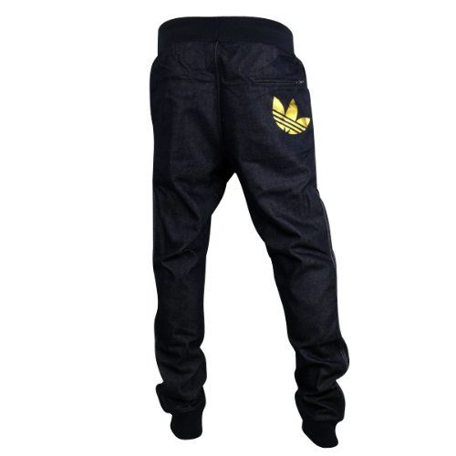 4799d2e9cbc1e Mens Adidas Originals Cuffed Denim Blue Jeans Tracksuit Bottoms ...