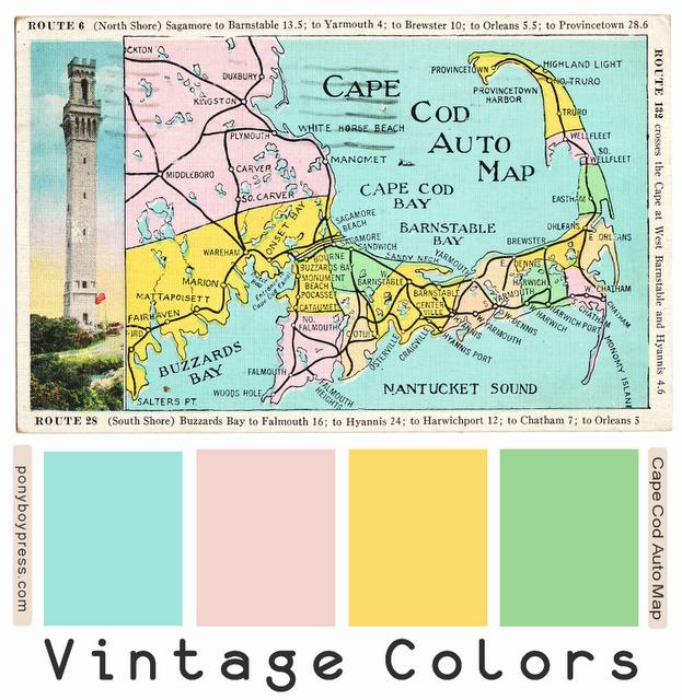 vintage color palettes cape cod auto map see blog for