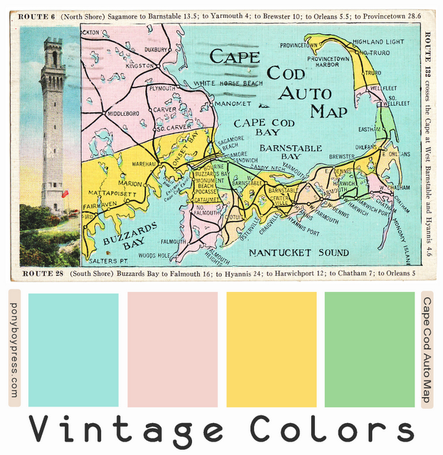 vintage color palettes - Cape Cod Auto Map. See blog for Hex ... on edge coloring, map assessment, chromatic polynomial, path coloring, map of dalmatian coast croatia, greedy coloring, map of europe, star coloring, fractional coloring, map weather, acyclic coloring, map coloring pages, map lines, perfect graph, map coloring worksheets, map of world countries geography, dual graph, graph coloring, lattice graph, map flower, exact coloring, map labels, map of us lower 48 states, five color theorem, map of malawi and surrounding countries, map of the world international, pigeonhole principle, map layers, hadwiger conjecture, map creator, harmonious coloring, map of northeastern united states, complete coloring, map words, map of mexico states and capitals, strong coloring, map details, map of greenland and north america,