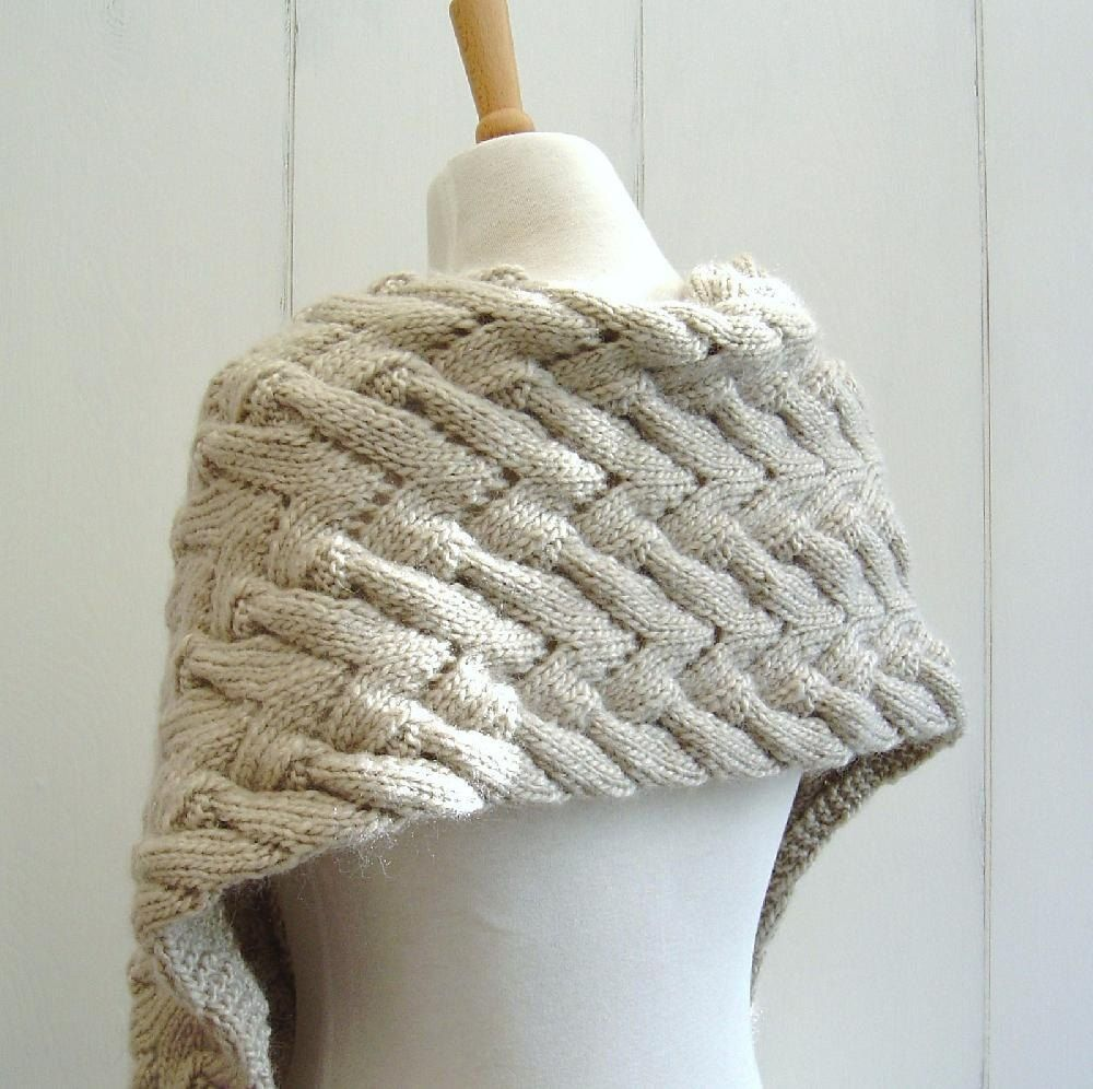 Chevron Lace Cable Wrap Scarf | Aran weight yarn, Knit patterns and ...