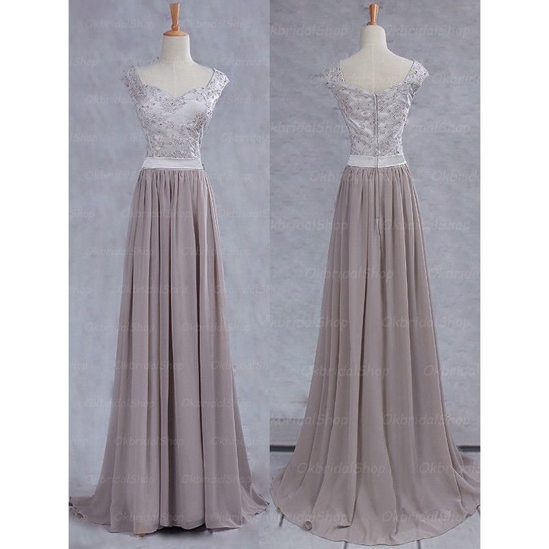 Lace Prom Dress, Grey Prom Dress, P | Elegant prom dresses, Long ...