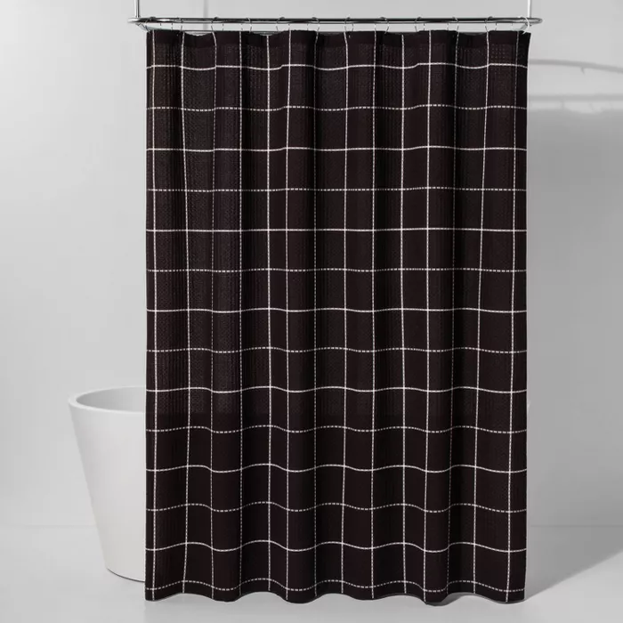 Windowpane Waffle Shower Curtain Black White Project 62