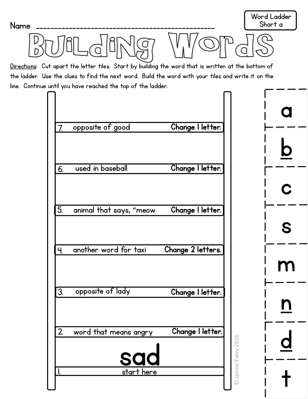 Best Word Ladders Printable