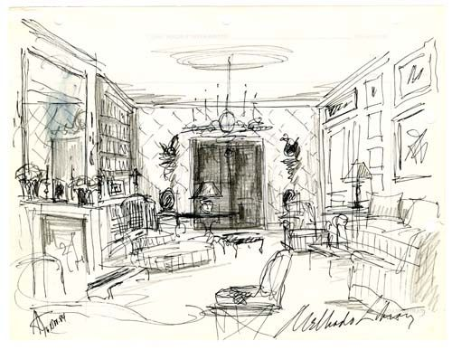 Interior Sketch. A quick drawing that loosely captures the appearance or action of a place or situation. Sketches are often done in preparation for larger, more detailed works of art.