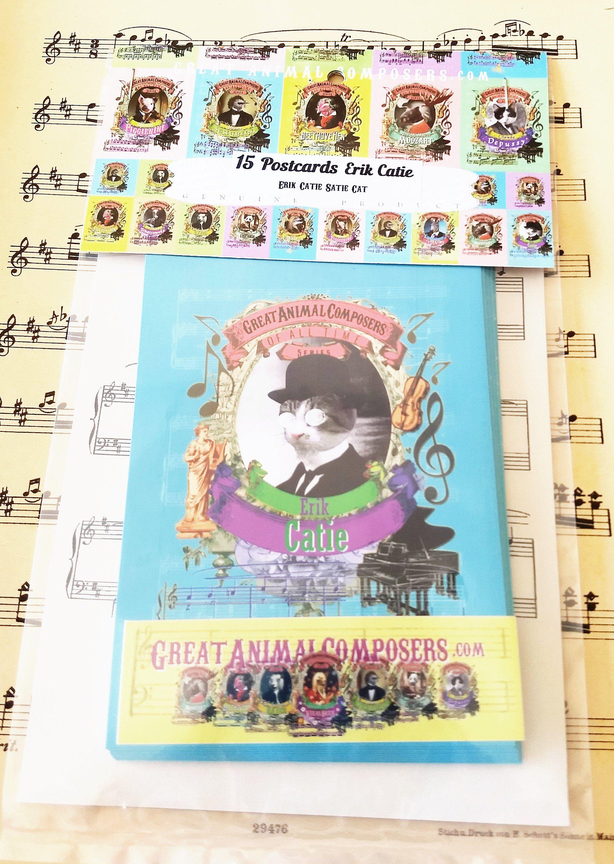 Erik satie catie cat animal composer cards pack 15