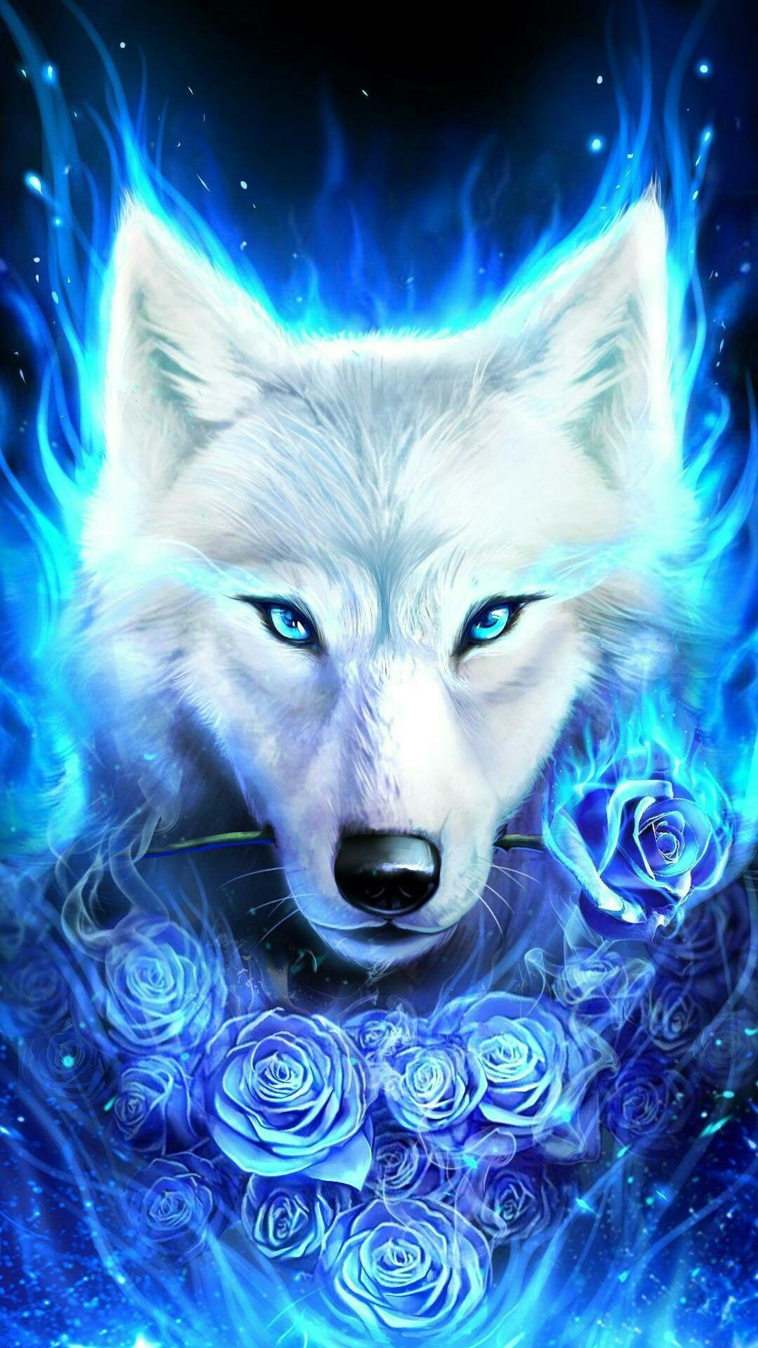 Blue Flame Wolf Wolf Spirit Animal Wolf Wallpaper Fantasy Wolf