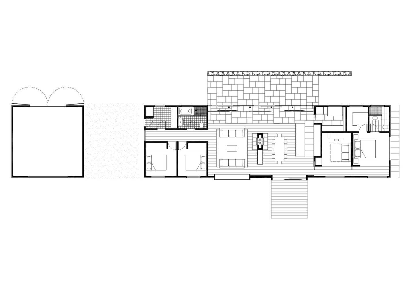 Gallery Of Trentham Long House Mrtn Architects 21 In 2020 Long House House Floor Plans Narrow House Plans