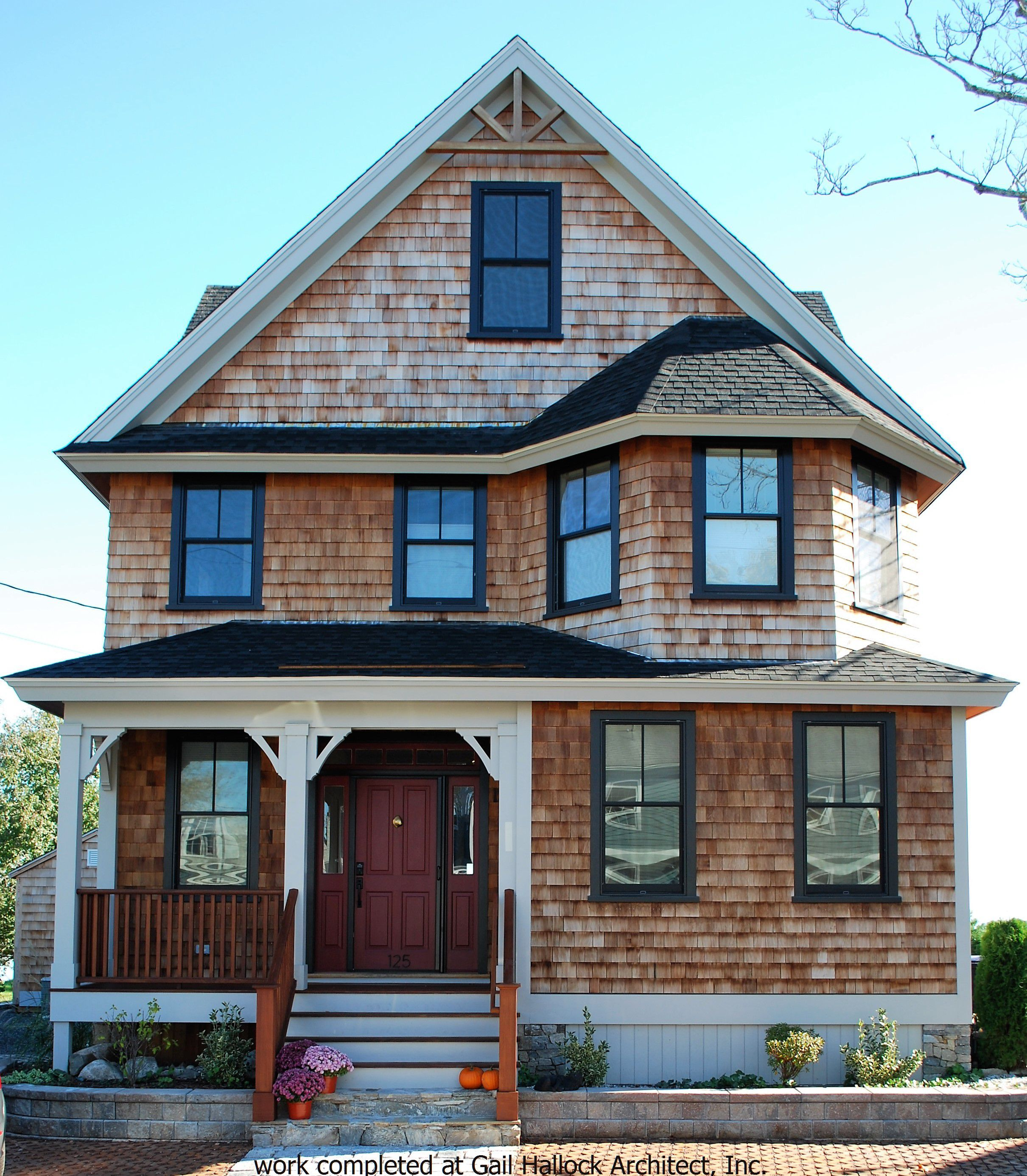 Coastal New England Home | Red Cedar Shingles | Black Pella Windows ...