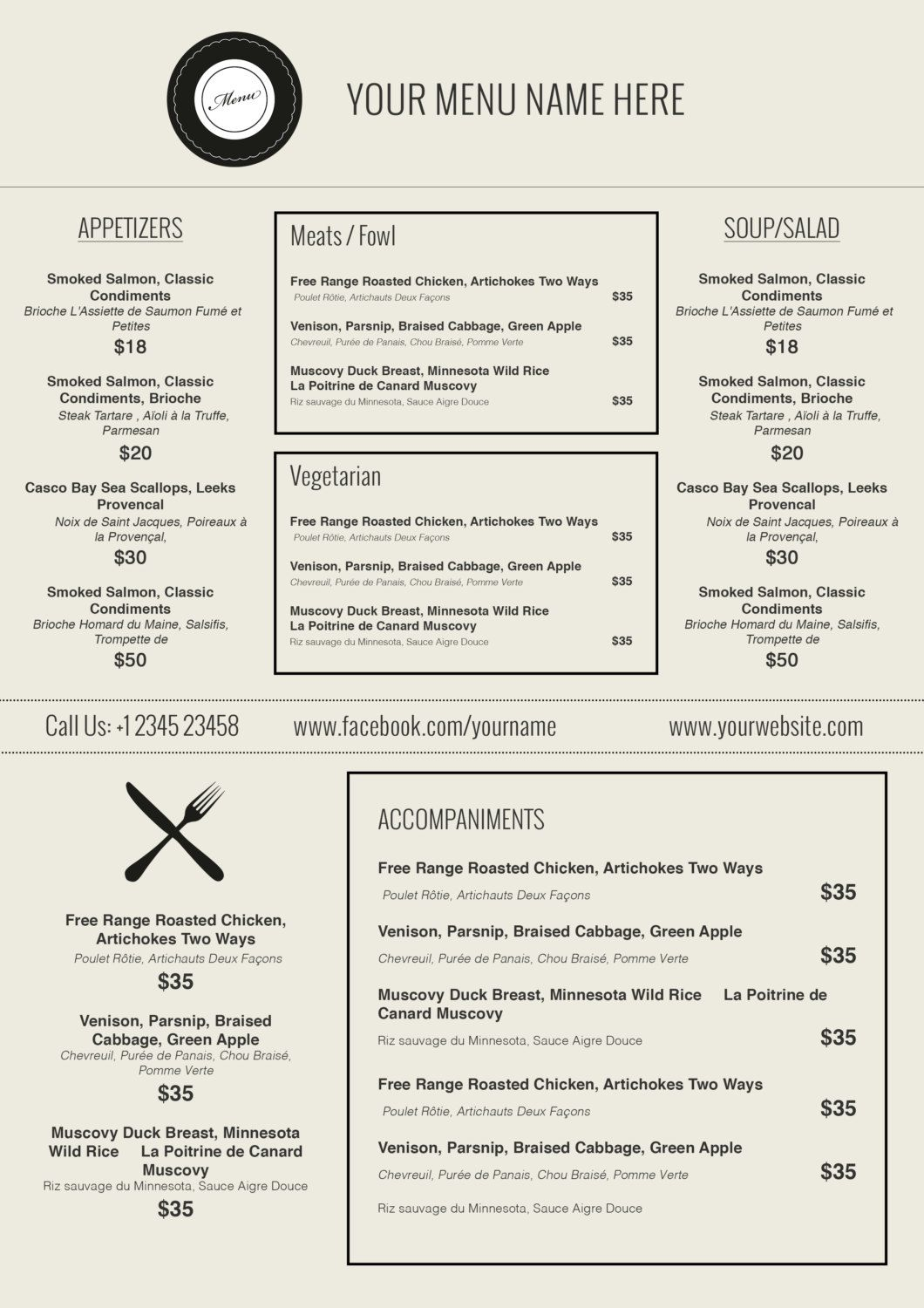 015 Menu Templates Free Download Word Friench Food Template