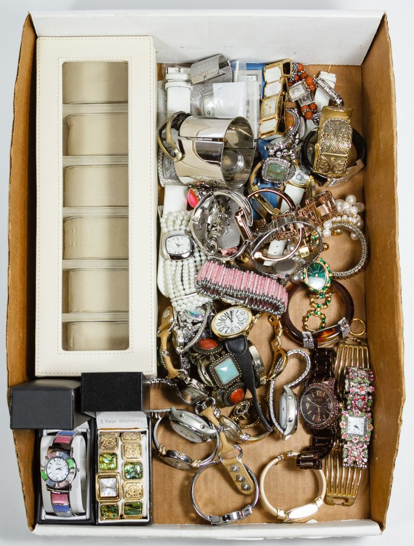 Lot 531: Finger and Wrist Watch Assortment; Including (45) watches with examples from Omega, Vernier, On-time talking Atomic, Marcel Boucher, Jalga and Gramercy