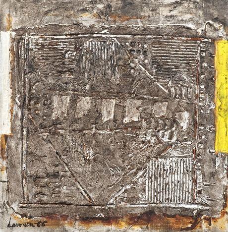 Ahti Lavonen: Hopeateema, 1966, öljy ja sekatekniikka kankaalle, 45x45 cm - Bukowskis