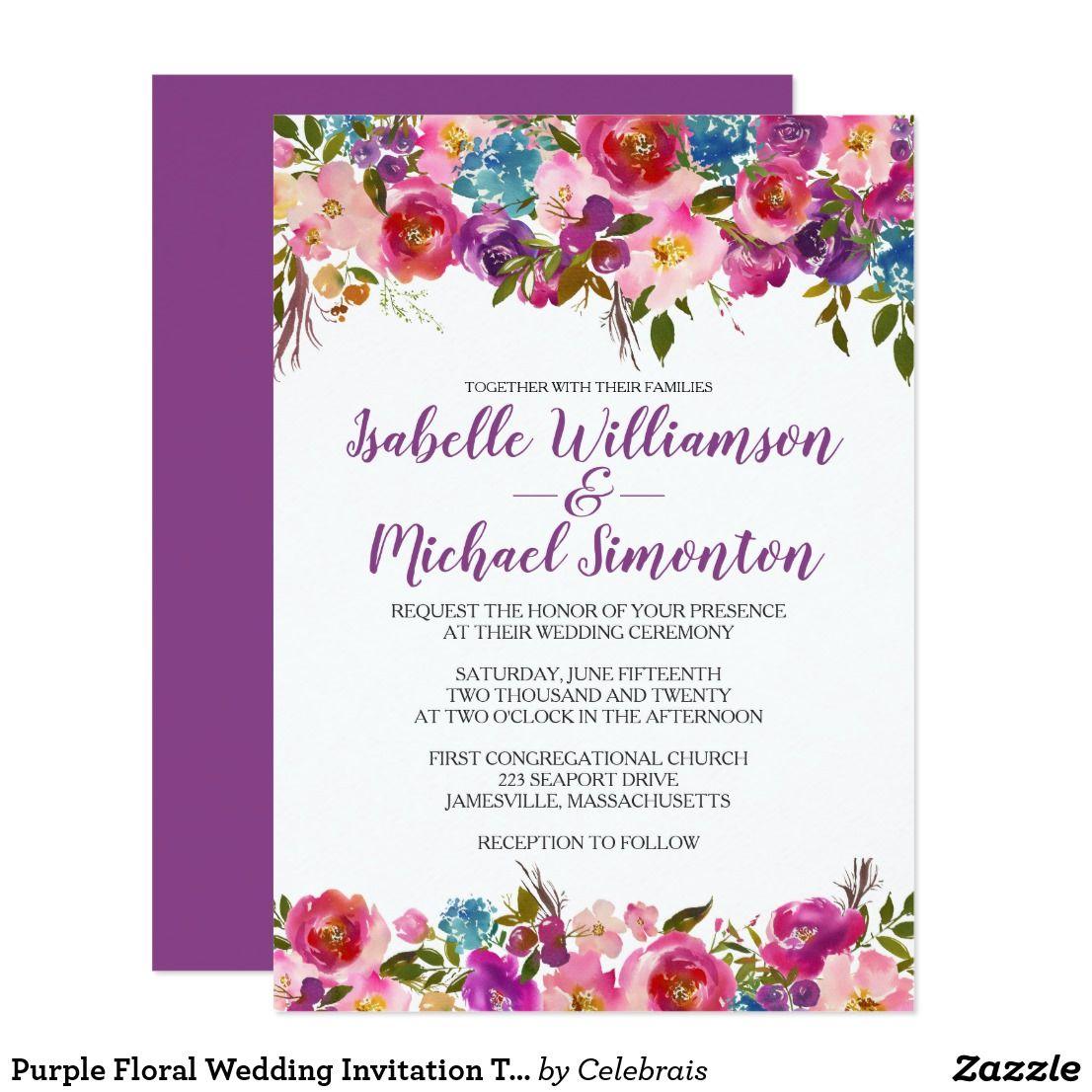 Purple Floral Wedding Invitation Template: Lilac Wedding Invitation Template At Reisefeber.org