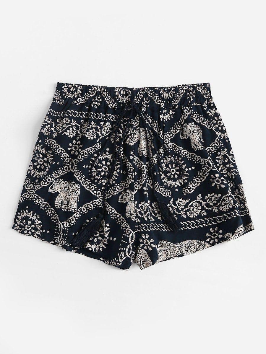 Plus Knot Front Elephant Print Shorts