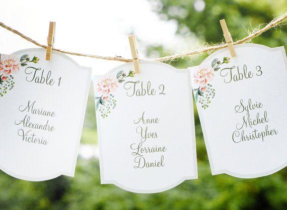 Plan de table de mariage champ tre pivoine rose - Etiquette plan de table a imprimer gratuit ...