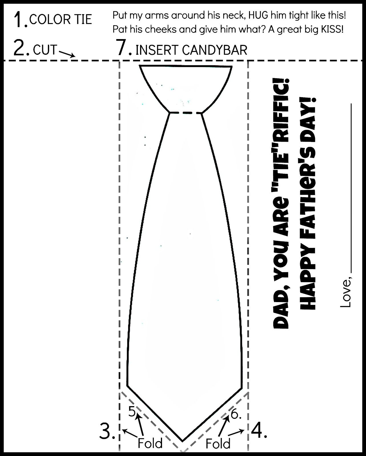 Free Printable Father S Day Tie Coloring Page Color Cut