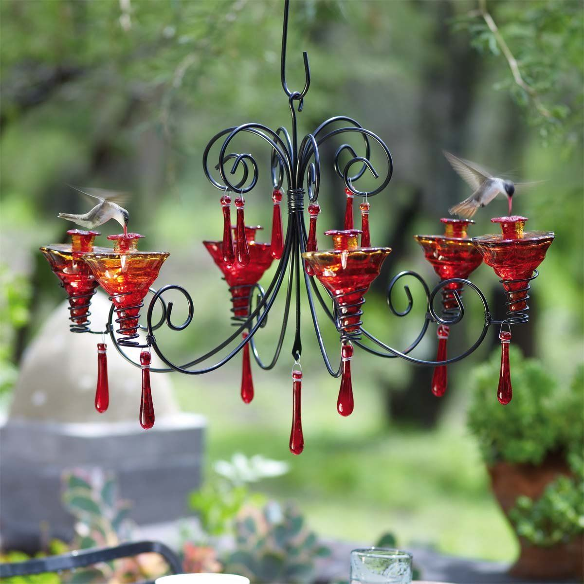 Amazon Com Parasol Grchglfr Grand Chandelier Hummingbird Feeder Flame Red Discontinued By Manufa Humming Bird Feeders Glass Hummingbird Feeders Garden Gifts