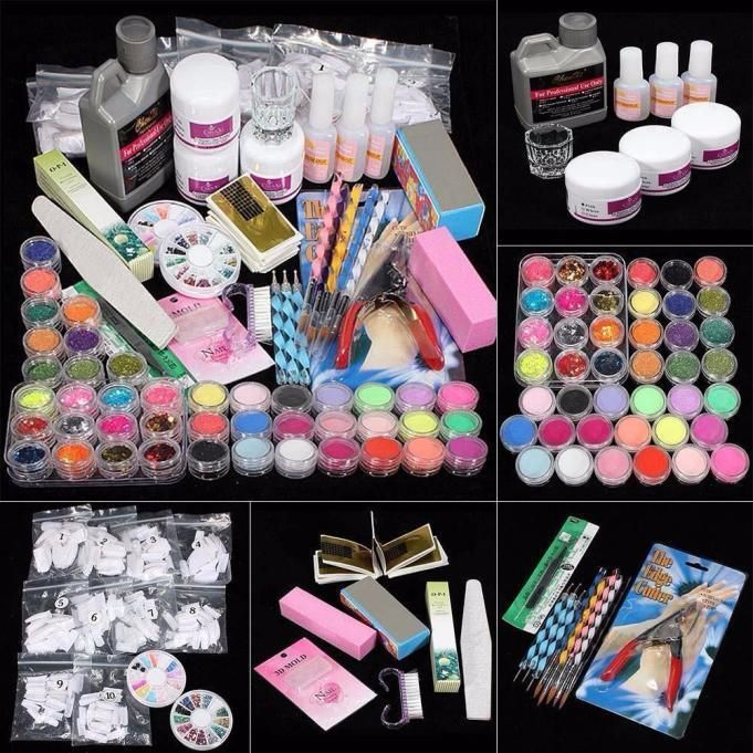 42 Acrylic Nail Art Tips Powder Liquid Brush Glitter Clipper Primer ...
