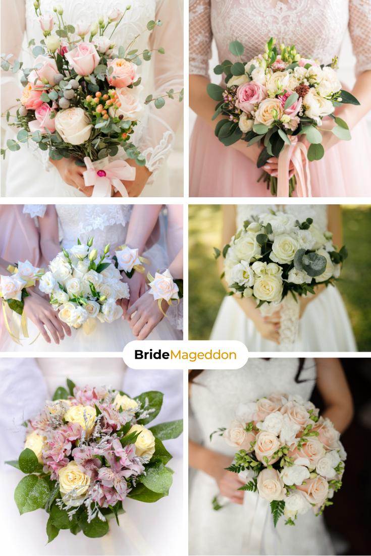 Bukiety Slubne Roze Jasne Biale Rozowe Bridal Bouquet Wedding Bouquet